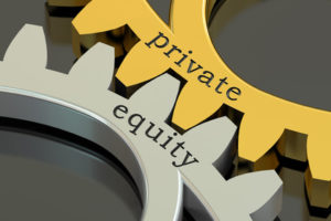 private equity concept on the gearwheels, 3D rendering